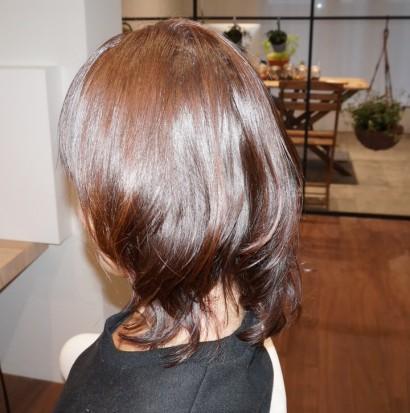縮毛矯正 + 毛先カールとカラー